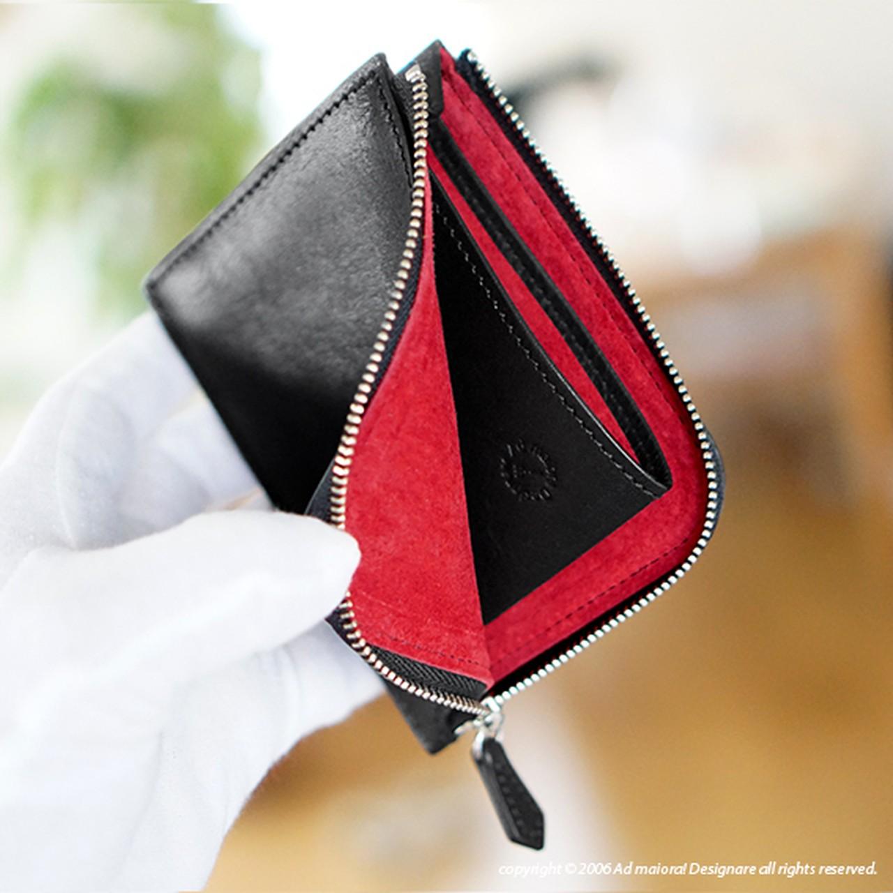 "L型財布""Leatus""・ブラック×レッド"