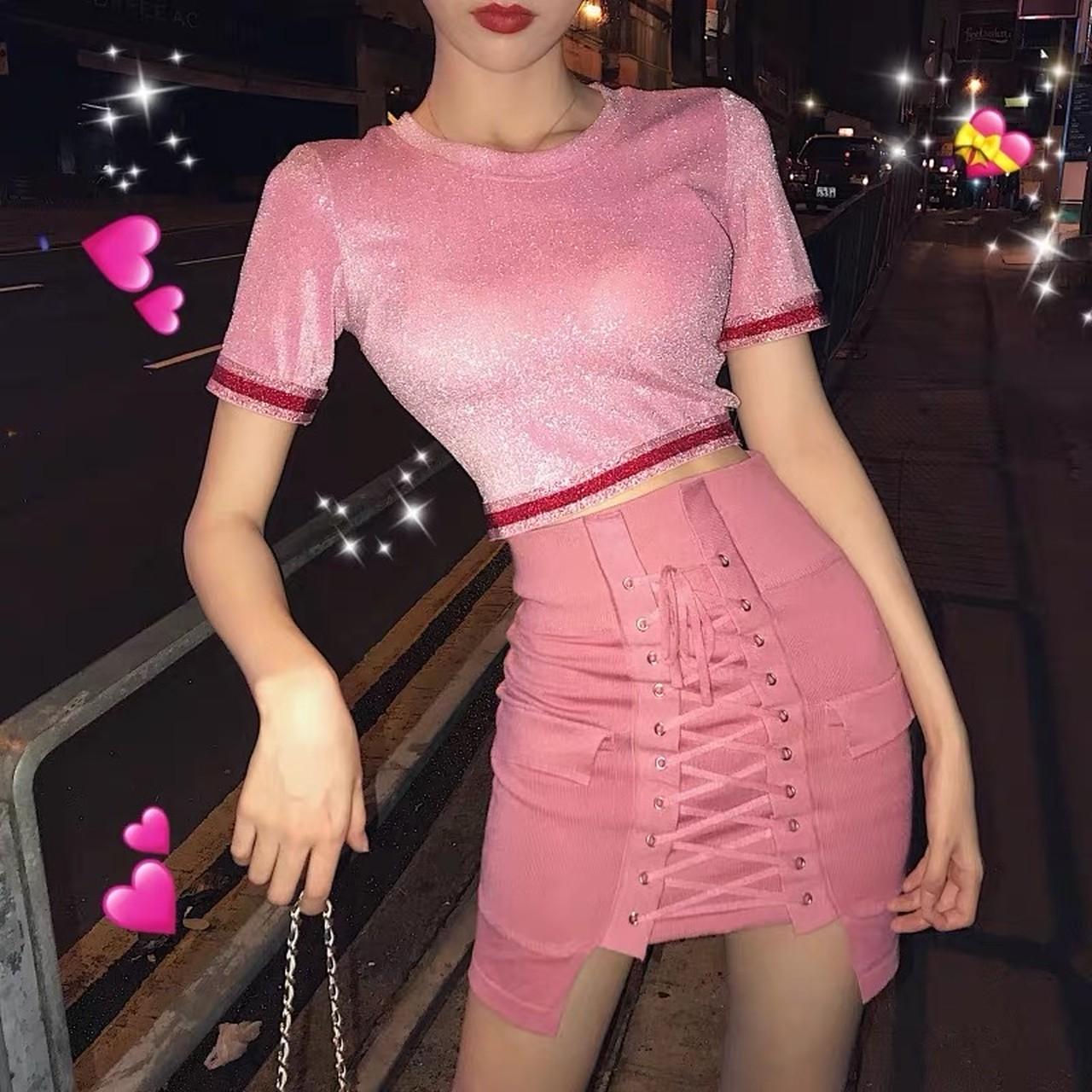 【即納】pink short set up
