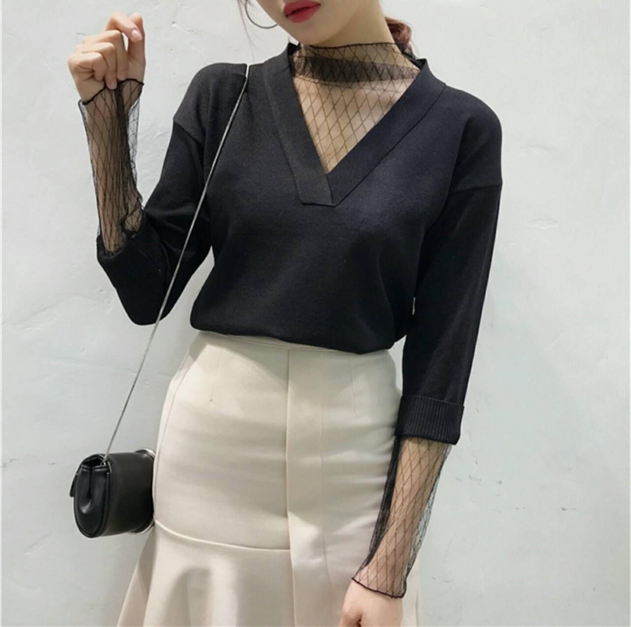 【即納】elegant casual mesh t-shirt