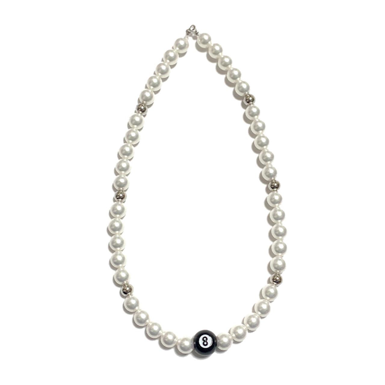 【Cat & Parfum】Eight Ball & Silver Beads Necklace