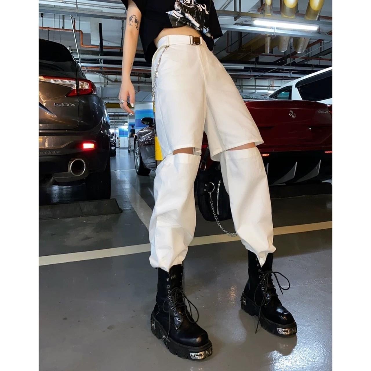 half cut design over pants