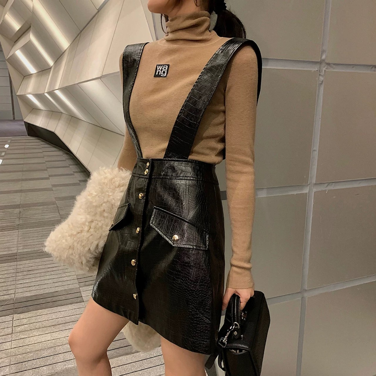 a-line leather overall skirt