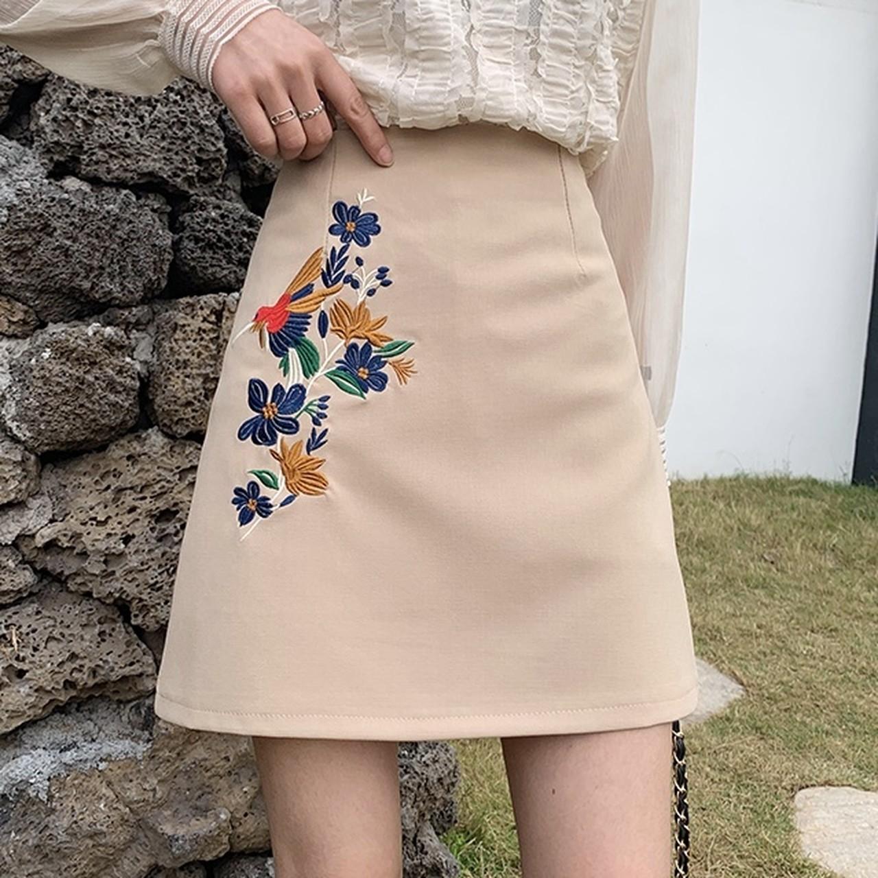 【即納】retro embroidery skirt