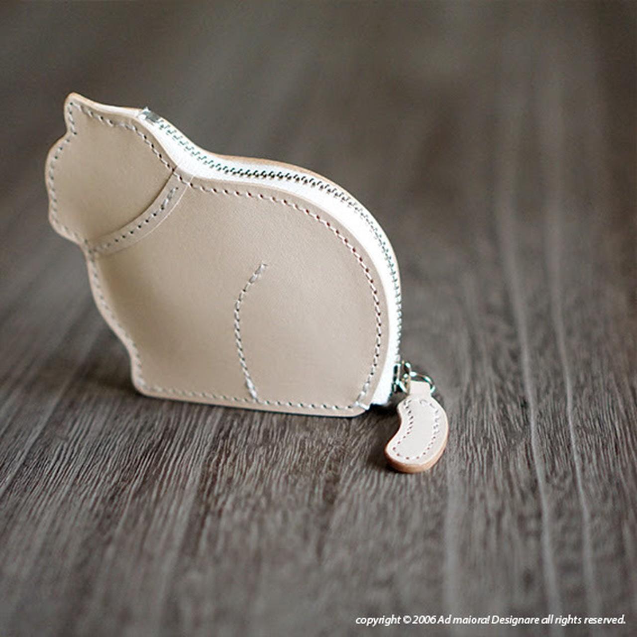 お座り子猫のコインケース・ナチュラル