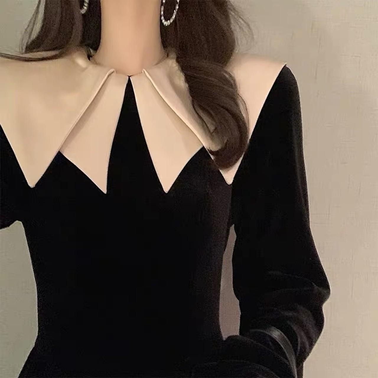 w collar suede dress