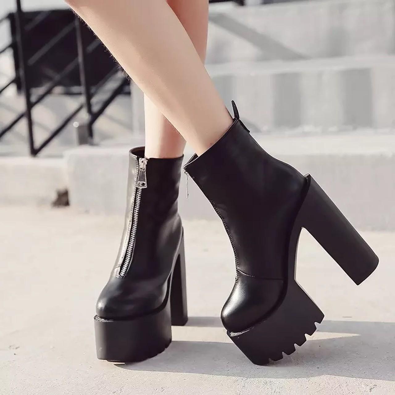 zipper heel boots