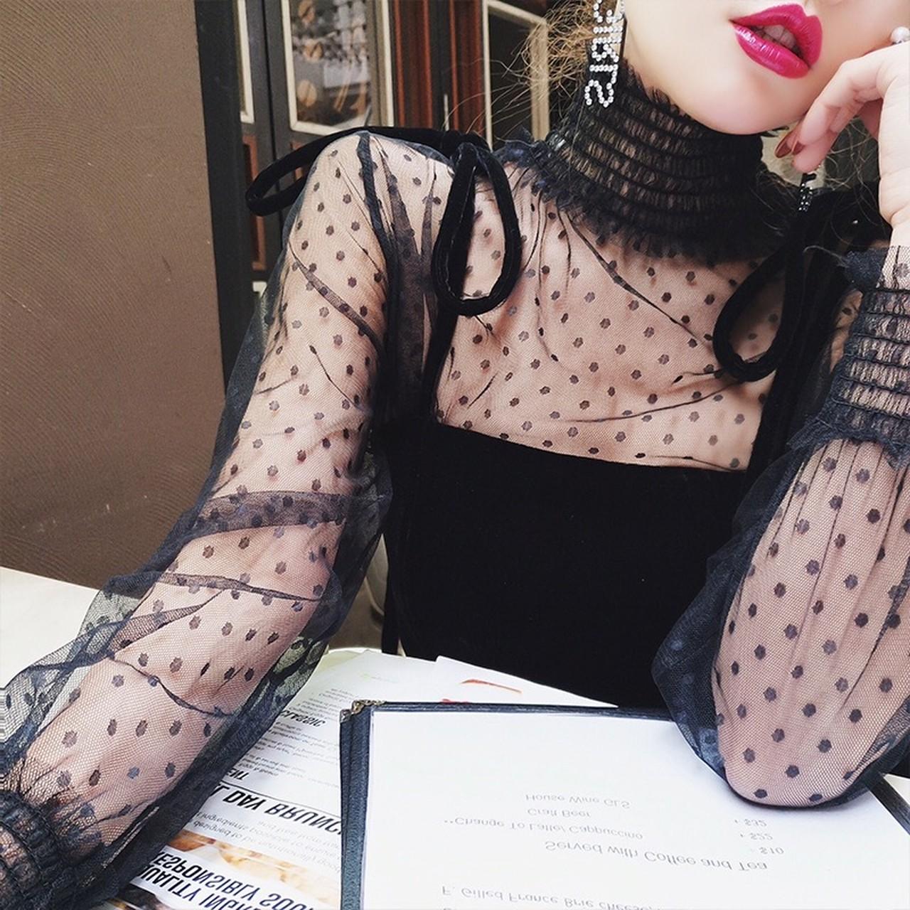 【即納】dot see through blouse