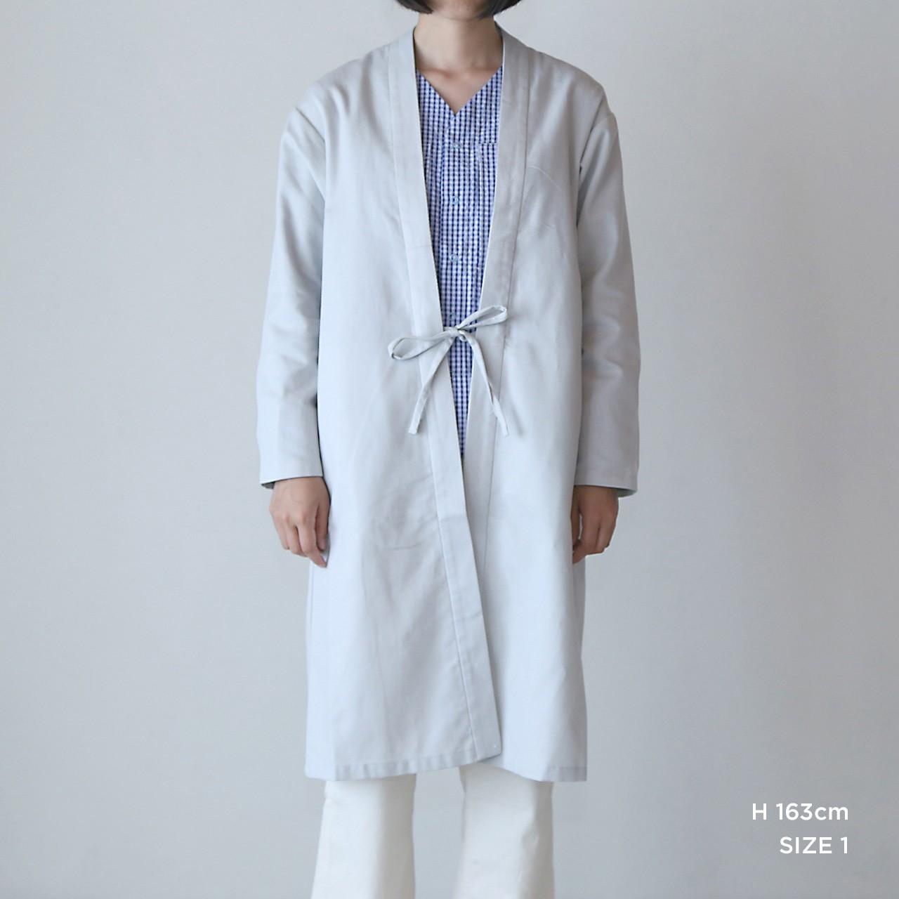 CO-12 伊達羽織長丈 変わり織 銀鼠●