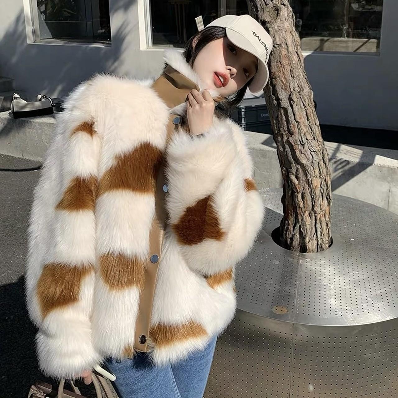 brown fur short jacket