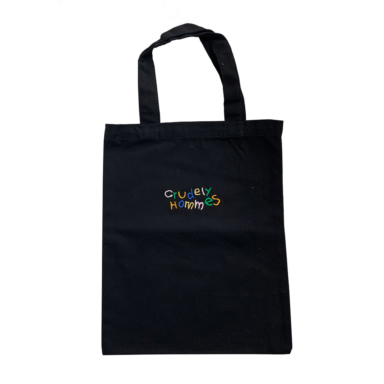 【Crudely Hommes】Rainbow Embroidery Logo Canvas Mini Tote Bag
