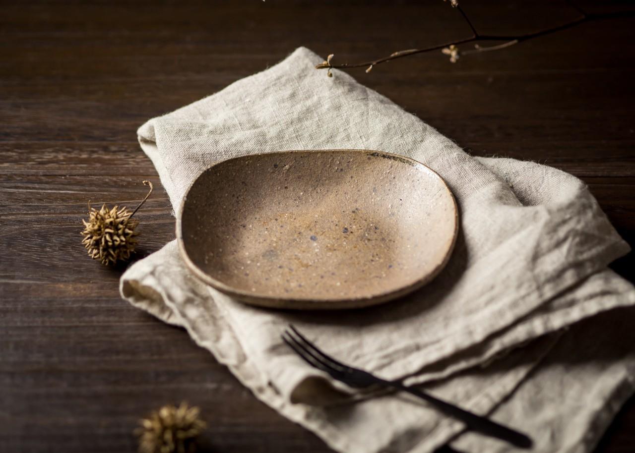 炭化焼締 角皿(小皿・取皿・和食器)/阿部 恵里