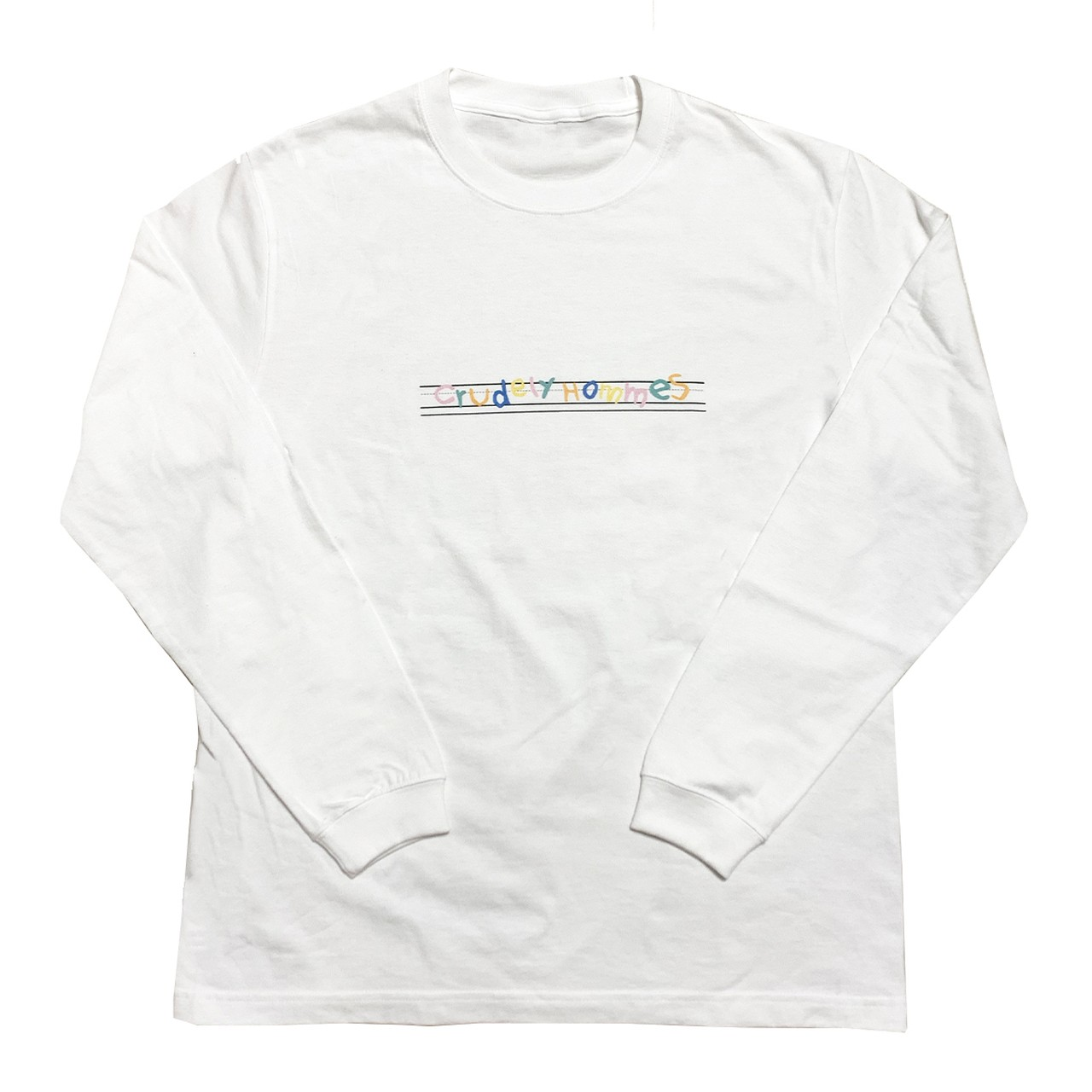 【Crudely Hommes】English Note Rainbow Logo Long Sleeve