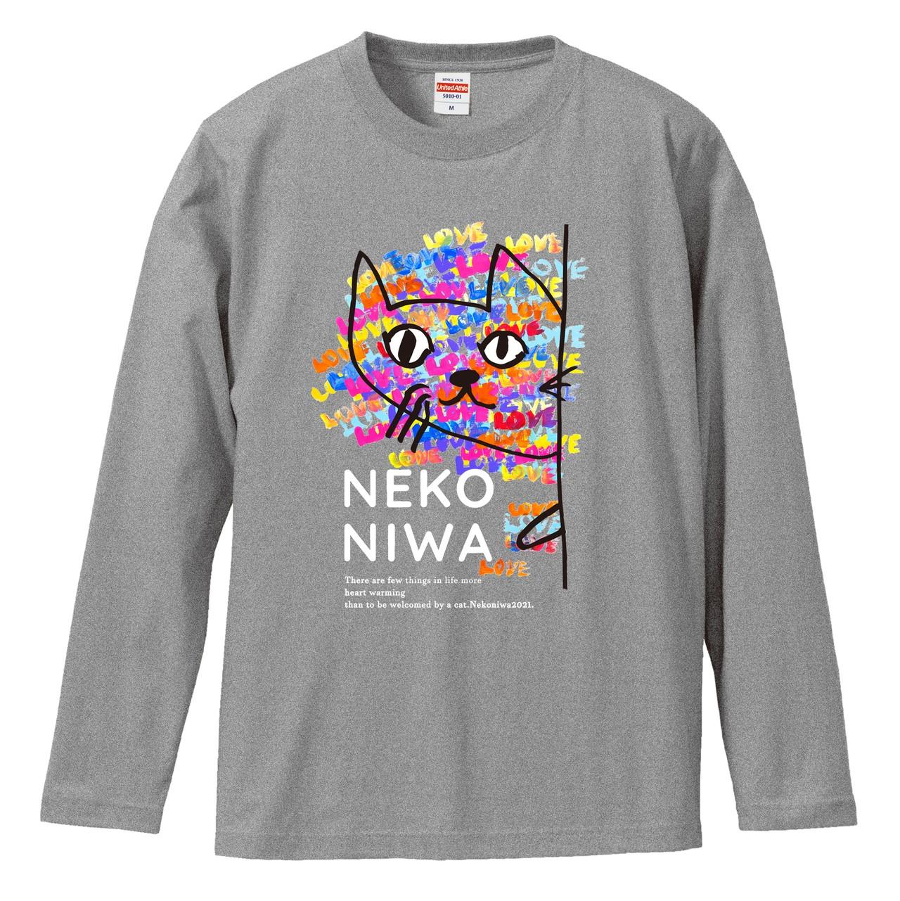 【NEW】2021.love&energy 猫庭ロングスリーブ  Tシャツ【グレー】 ★全国送料無料★