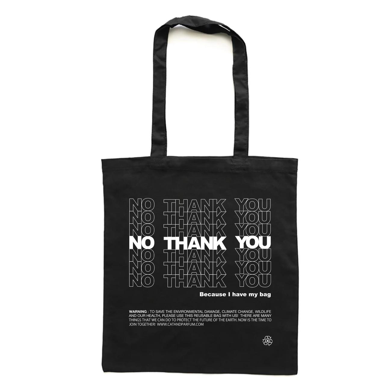 【Cat & Parfum】NO THANK YOU Natural Cotton Eco Tote Bag