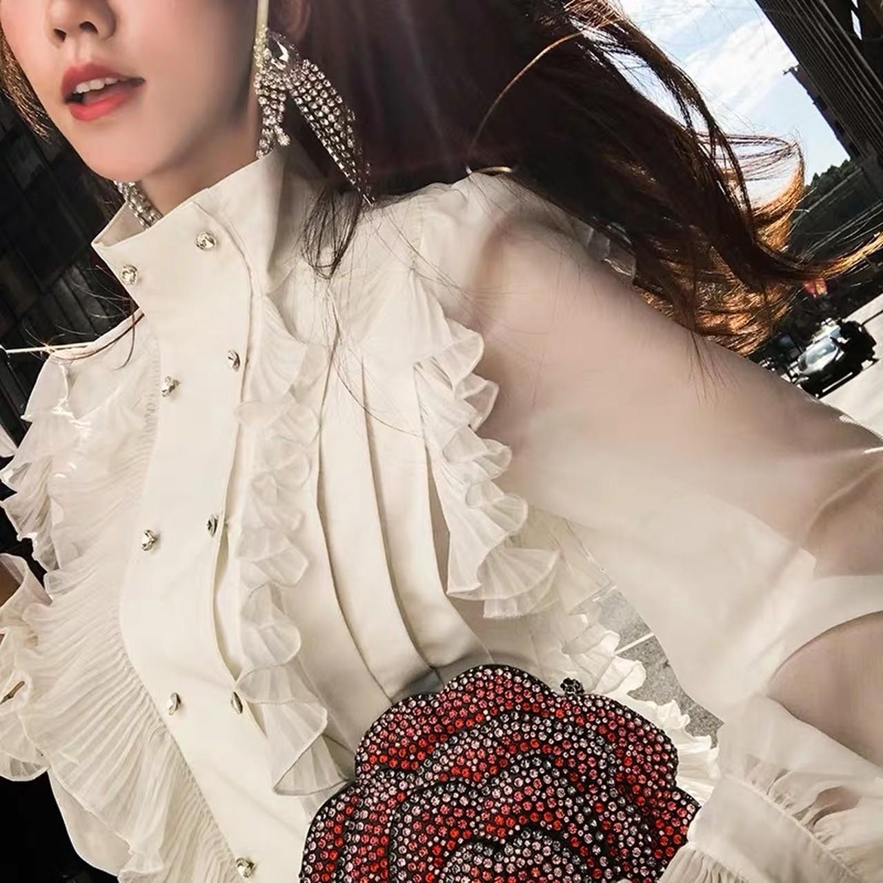 【即納】line frill flare dress