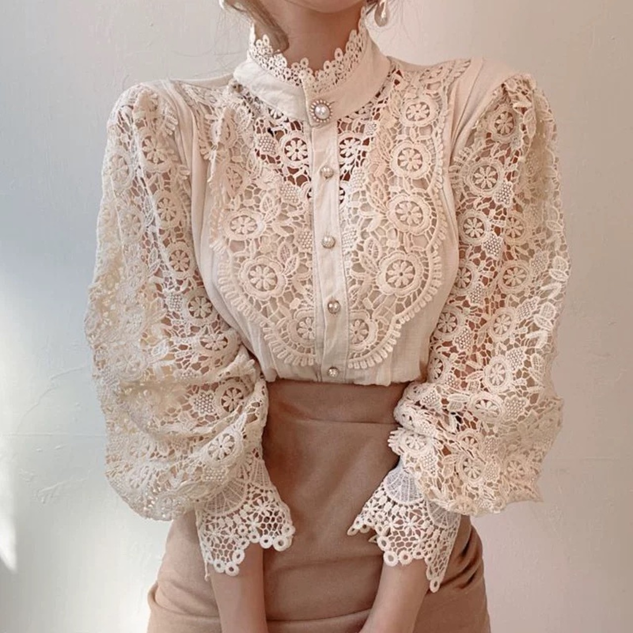 total lace volume blouse