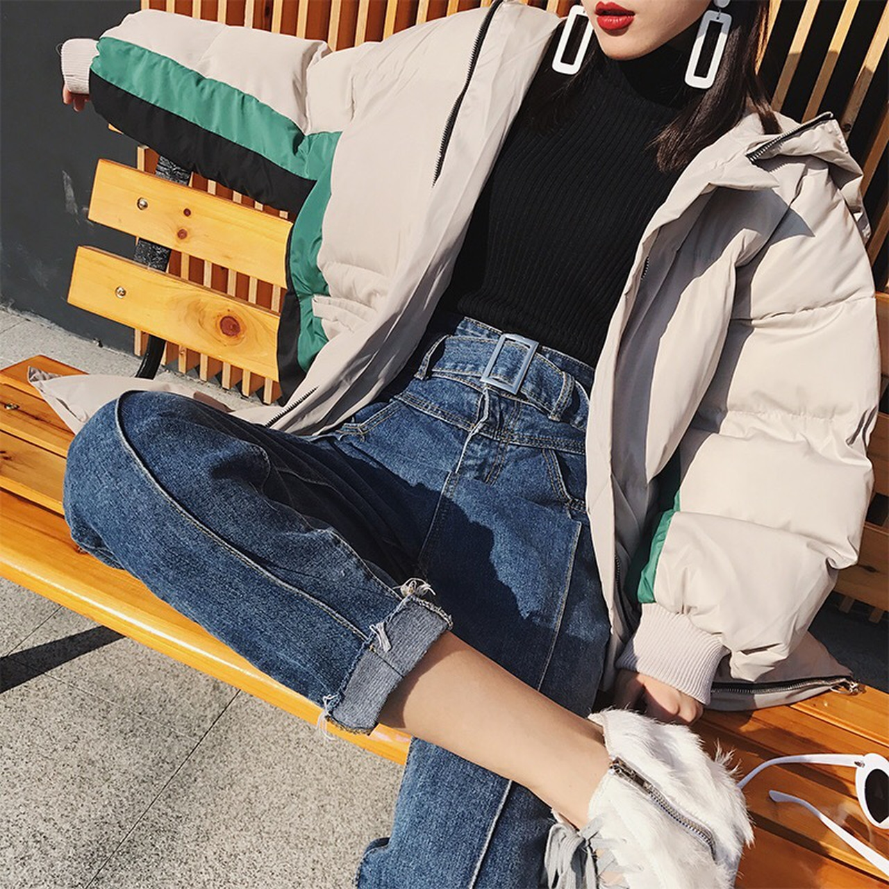 【1点のみ即納】high waist denim pants