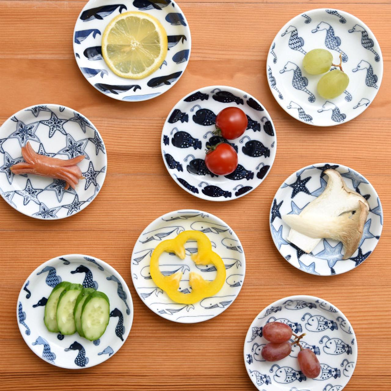 【波佐見焼】【natural69】【cocomarine×Janke】【豆皿】 ココマリンヤンケ お魚 海水魚 食器 北欧 小皿 おしょうゆ皿