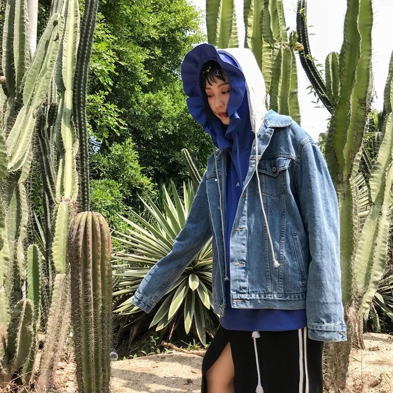 【即納】denim hood jacket