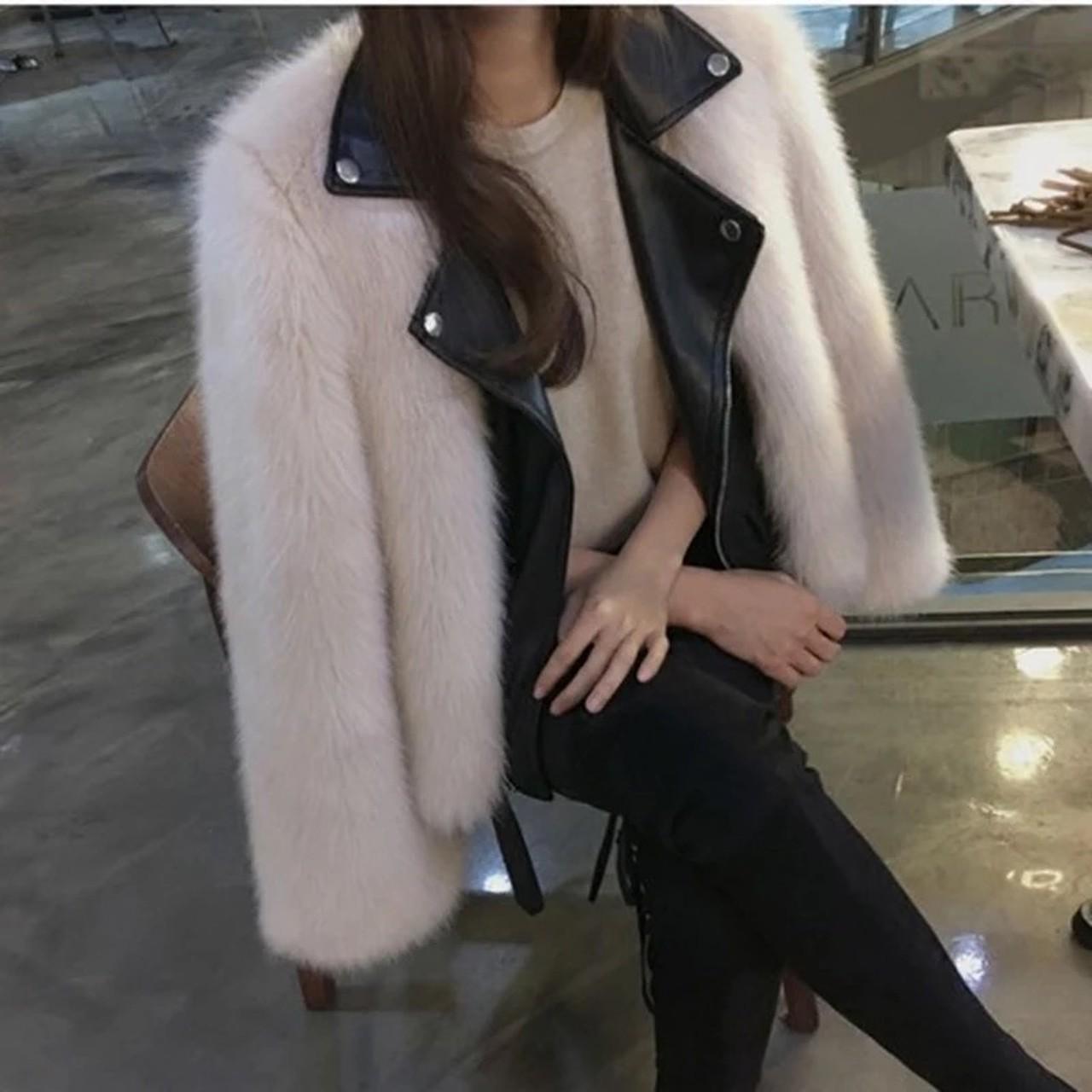 volume fur leather jacket
