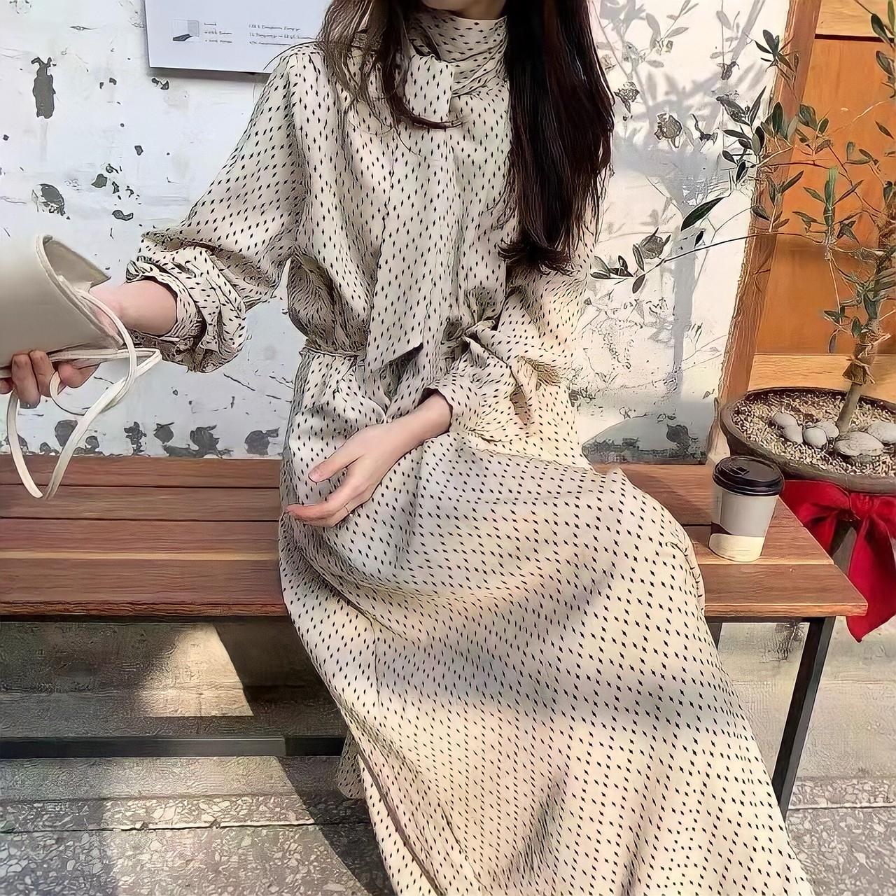 ribbon collar long dress