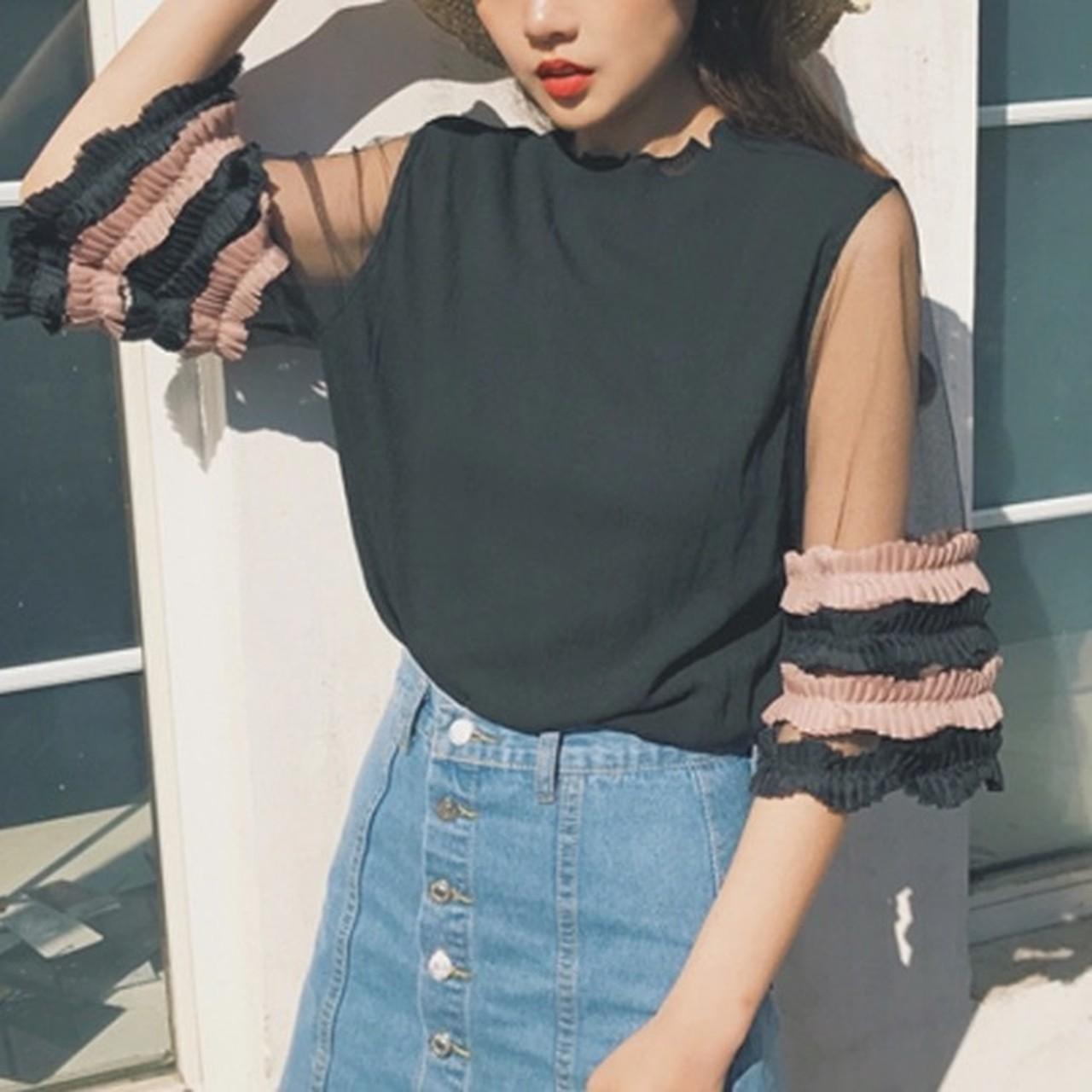 【即納】mesh top half sleeve blouse