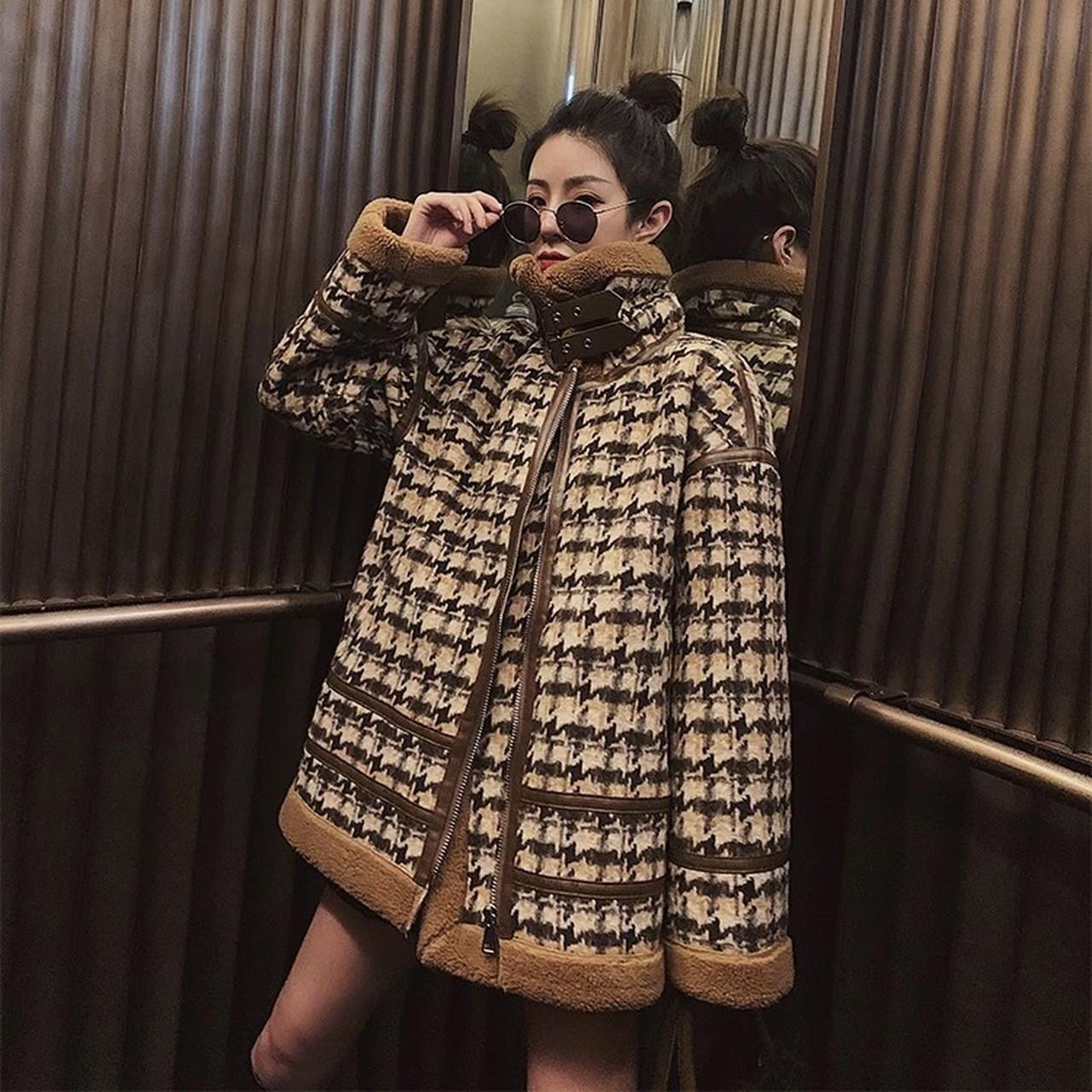 hem fur houndstooth pattern jacket
