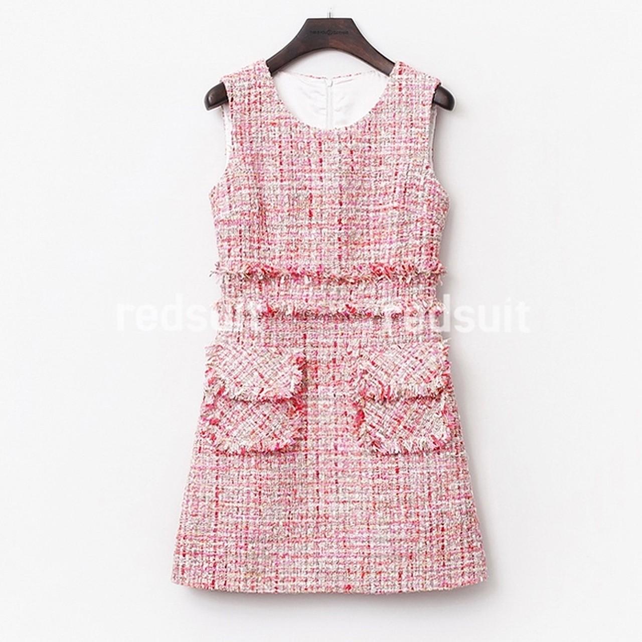 【再入荷】フロントポケットツイードワンピース Pink