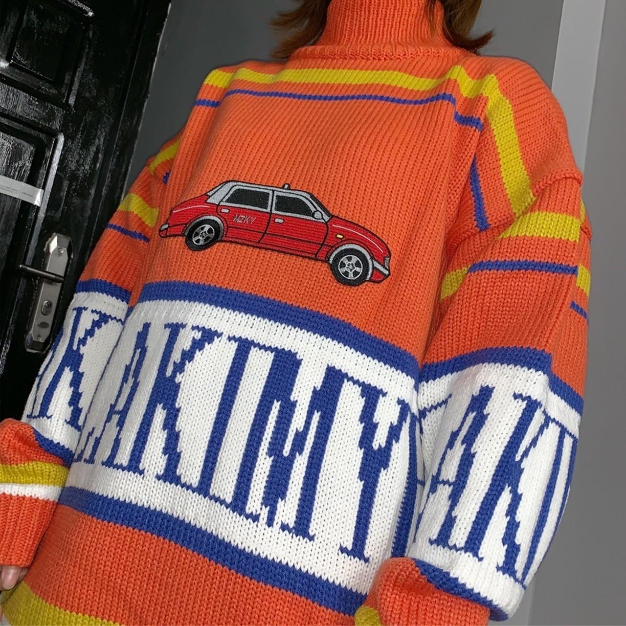 【即納】car border knit
