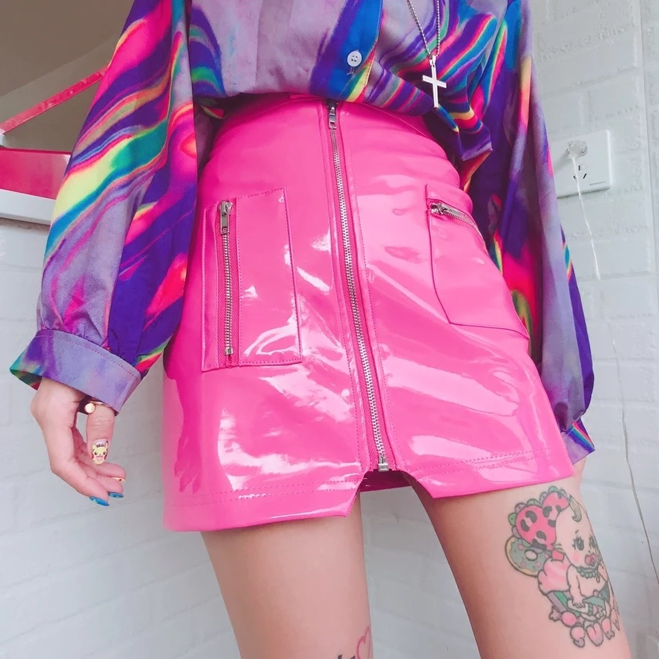 【即納】enamel girly skirt