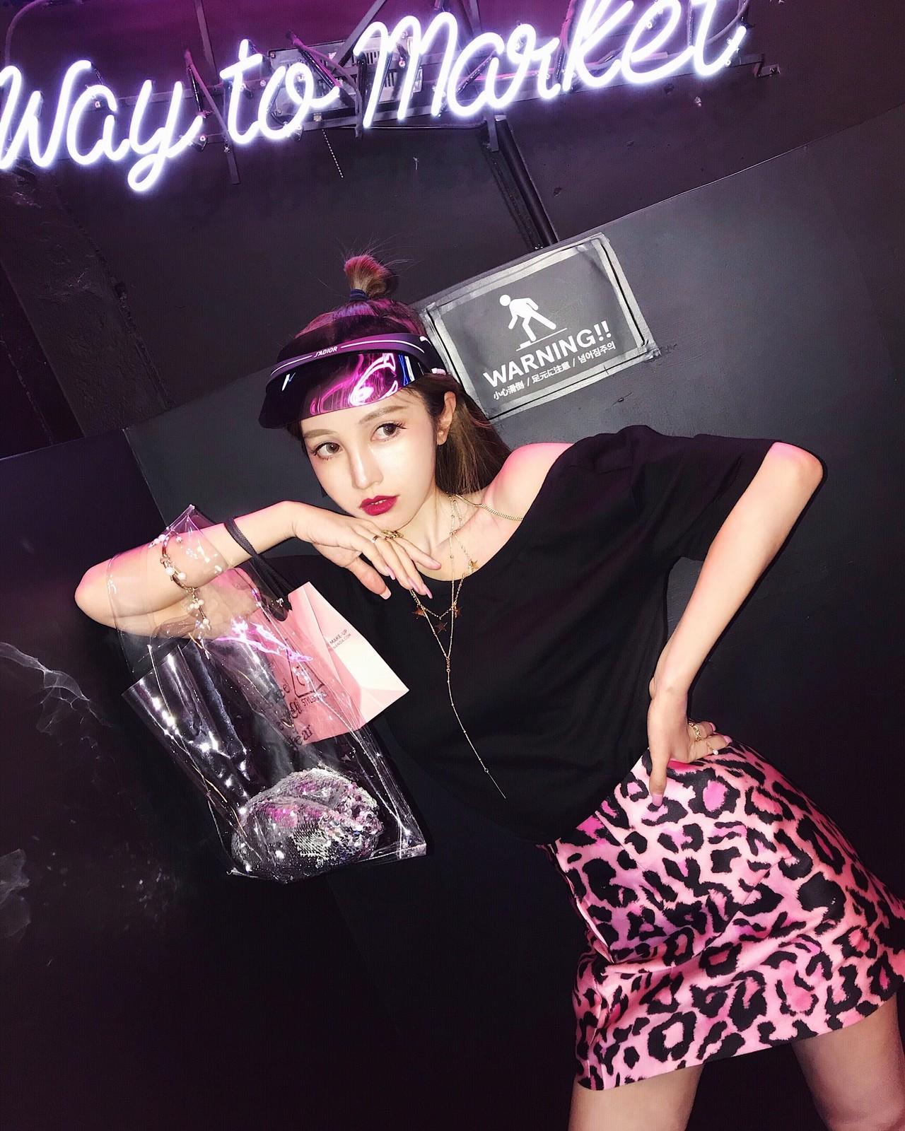 【即納】leopard pink skirt
