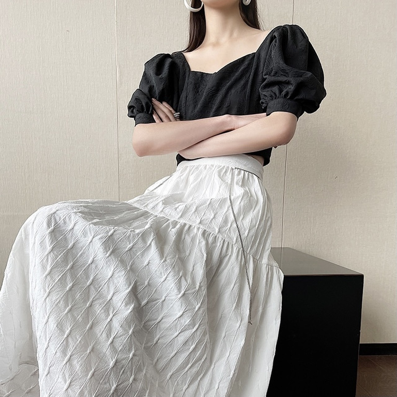 pastel color flare skirt