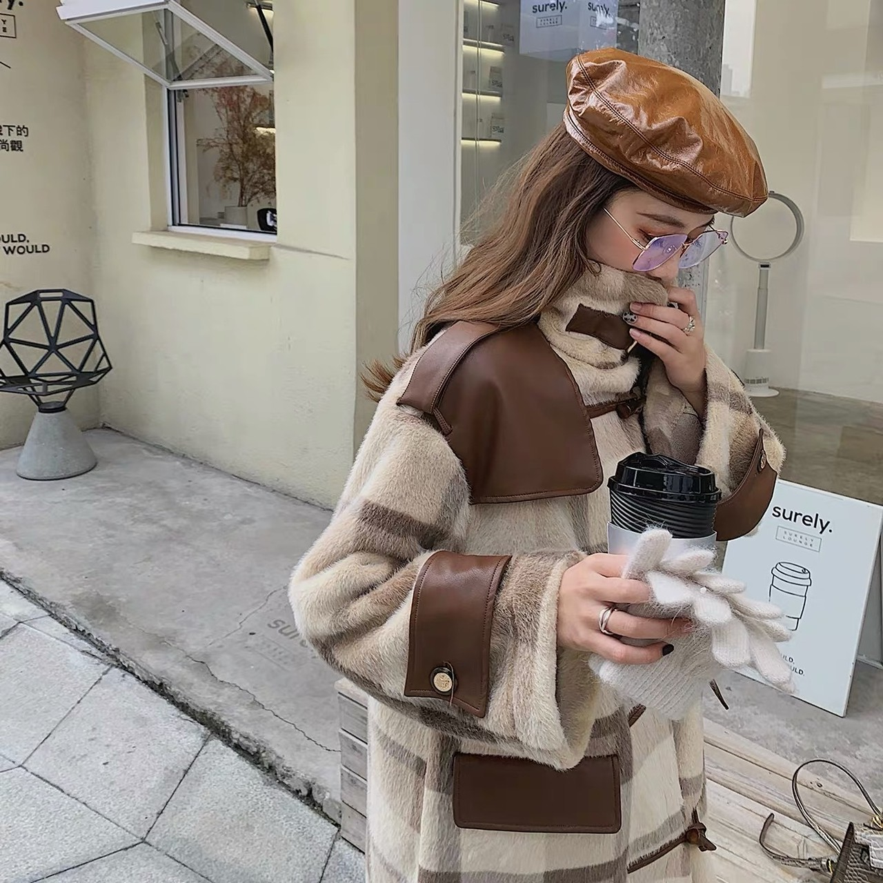 brown leather check coat