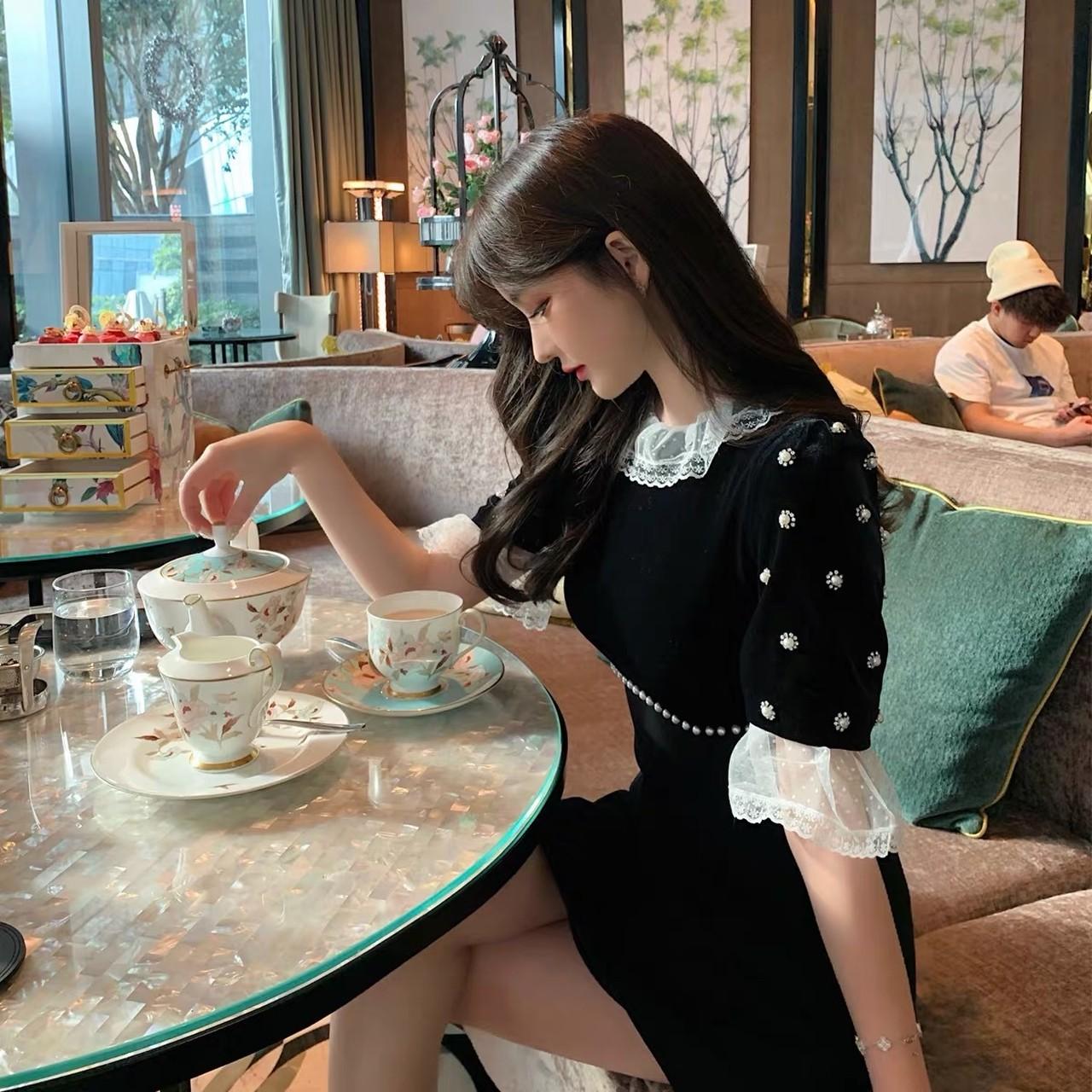 jewel sleeve a-line dress