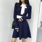 【dress】配色ニットワンピースAラインレディースワンピース