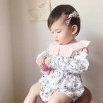 小花柄丸襟ロンパース