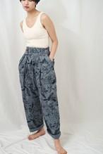 曖昧なズボン fuzzy Gurkha pants コットンプリント×製品染