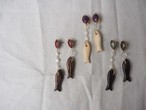 wood fish color pierce/earrings