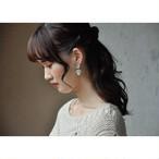 tiravisù【 Czech glass cabochon _ mint beads _ earring 】vintage handmade イヤリング japan