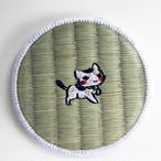 三毛猫にゃん刺繍畳コースター