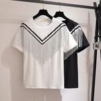 【tops】フリンジ切り替え個性デザイン2色丸ネックレディースTシャツ