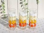 佐々木硝子 レトロポップな花柄グラス(ロング) 昭和レトロ