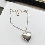 Italyシルバー925 ボールチェーン & HUGE puffy heart ネックレス