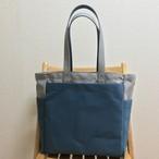 「ボックストート」 大サイズ「グレー×ミネラルブルー」帆布トートバッグ 倉敷帆布8号