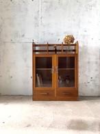 木味のガラス戸収納棚[古家具]