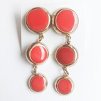 red orange round pierce[p-678] ヴィンテージピアス