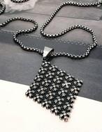 (サージカルステンレス)クロムクロスプレートネックレス ネックレス 韓国ファッション