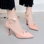 【shoes】韓流ポインテッドトゥハイヒール無地パールパンプス