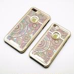 【SALE】りんごが見える iPhone7/7Plusケース 天然貝ケース(オリエンタルレース・ゴールドタイプ)<螺鈿アート>