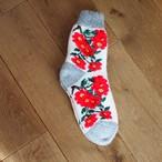 【ロシア】 厚手靴下 (グレー 花) 24cm くつした くつ下 ウール